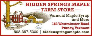 advertisement for Hidden Springs Maple Farm - 802-387-5200